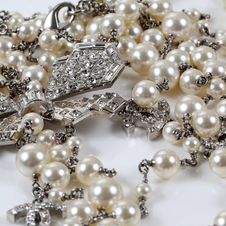 Chanel Crystal Jewel Butterfly Bow Multi Strand Pearl Necklace 9