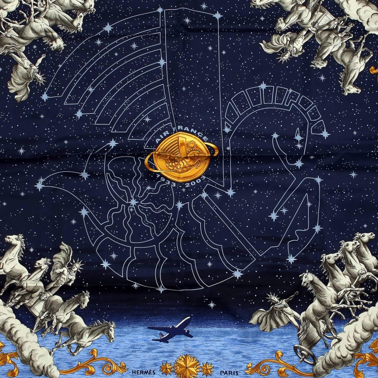 Hermes Cosmos Midnight Blue 90 cm Silk Scarf 2