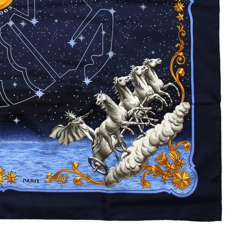 Hermes Cosmos Midnight Blue 90 cm Silk Scarf 3