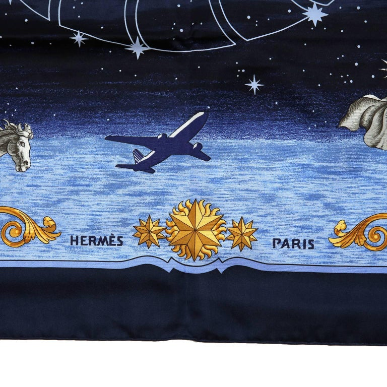 Hermes Cosmos Midnight Blue 90 cm Silk Scarf 4
