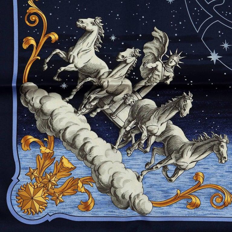 Hermes Cosmos Midnight Blue 90 cm Silk Scarf 5