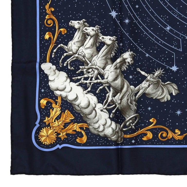 Hermes Cosmos Midnight Blue 90 cm Silk Scarf 7