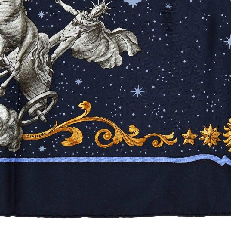 Hermes Cosmos Midnight Blue 90 cm Silk Scarf 8