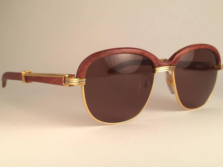 New Cartier Wood Malmaison Precious Wood Palisander and Gold 56mm Sunglasses  4