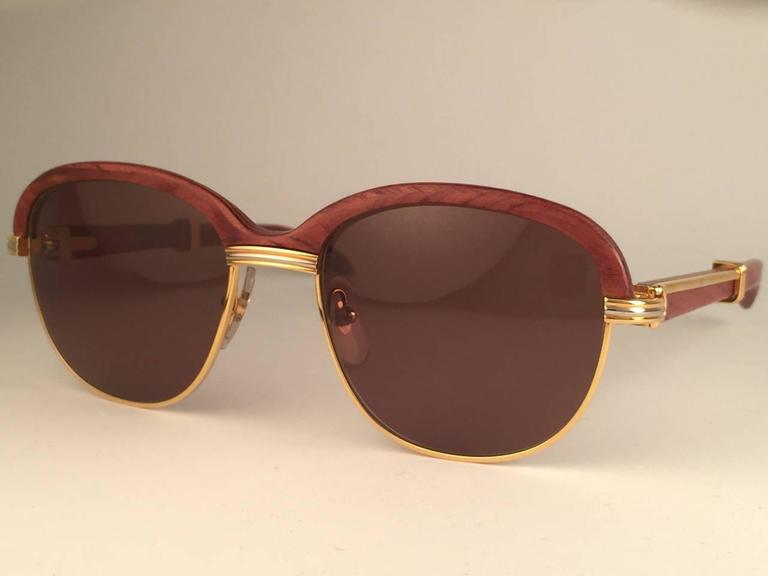Brown New Cartier Wood Malmaison Precious Wood Palisander and Gold 56mm Sunglasses  For Sale
