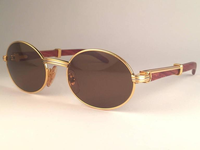 11943d8c938 New Cartier Giverny Gold   Wood 53 22 Full Set Brown Lens France Sunglasses  In