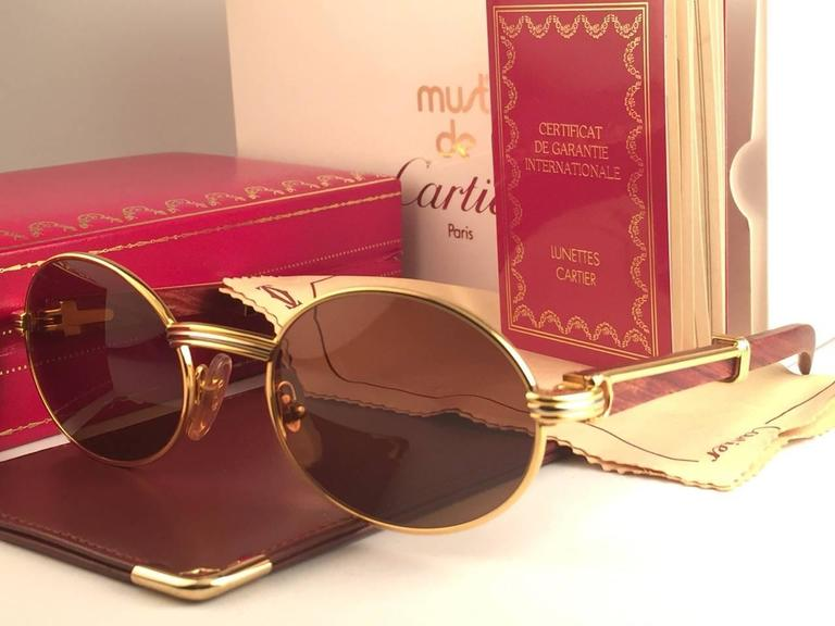 675ef133346 New Cartier Giverny Gold & Wood 53/22 Full Set Brown Lens France Sunglasses