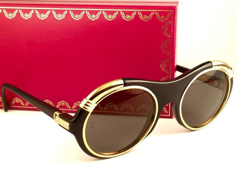 0175b8b1a751 New Cartier Diabolo Gold   Black 53mm 24k Gold Sunglasses France For Sale 4