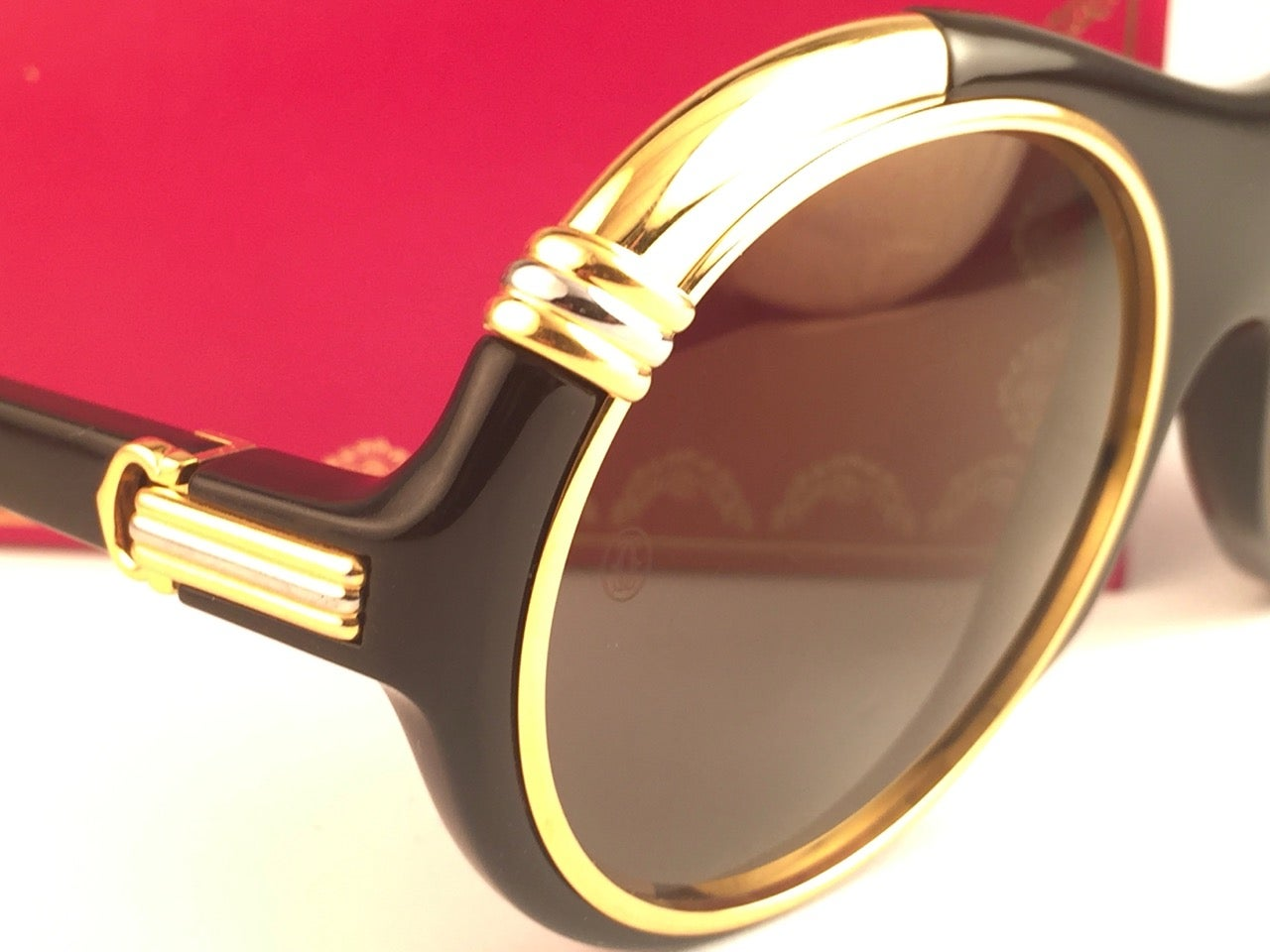 e9bcab6c7600 New Cartier Diabolo Gold and Black 53mm 24k Gold Sunglasses France at  1stdibs