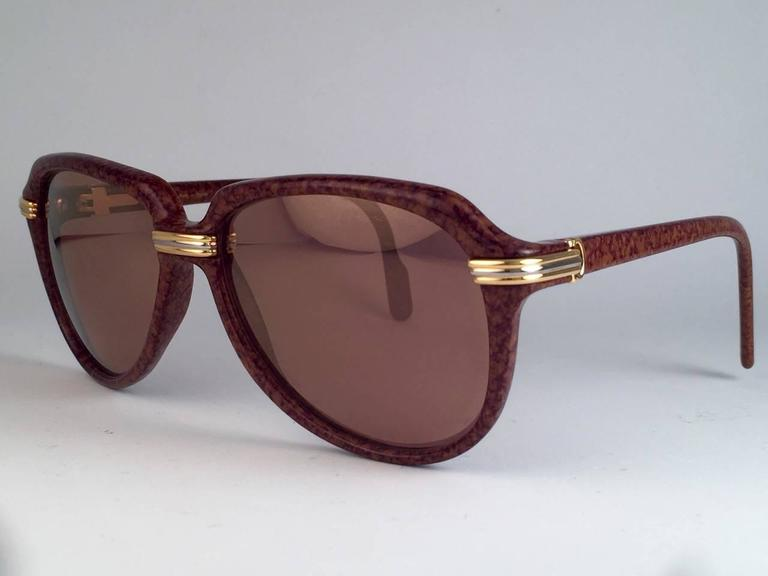 New Cartier Vitesse Brown Jaspe 58MM 18K Gold Plated Sunglasses France  6