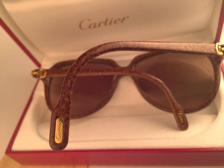New Cartier Vitesse Brown Jaspe 58MM 18K Gold Plated Sunglasses France  For Sale 5