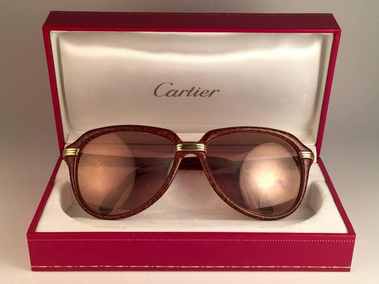 New Cartier Vitesse Brown Jaspe 58MM 18K Gold Plated Sunglasses France  4