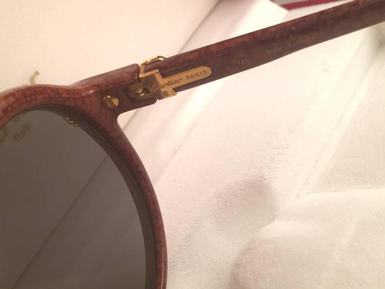New Cartier Cabriolet Round Brown 49MM 18K Gold Sunglasses France 1990's 6
