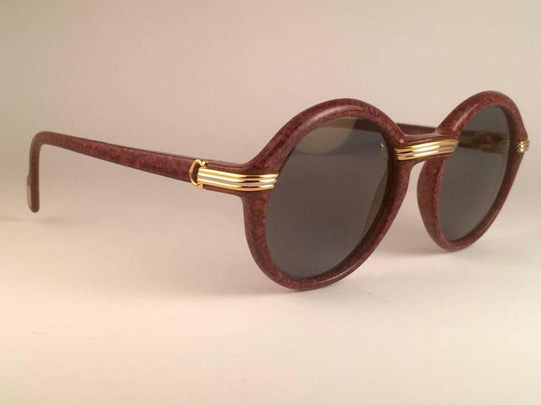 New Cartier Cabriolet Round Brown 49MM 18K Gold Sunglasses France 1990's 5
