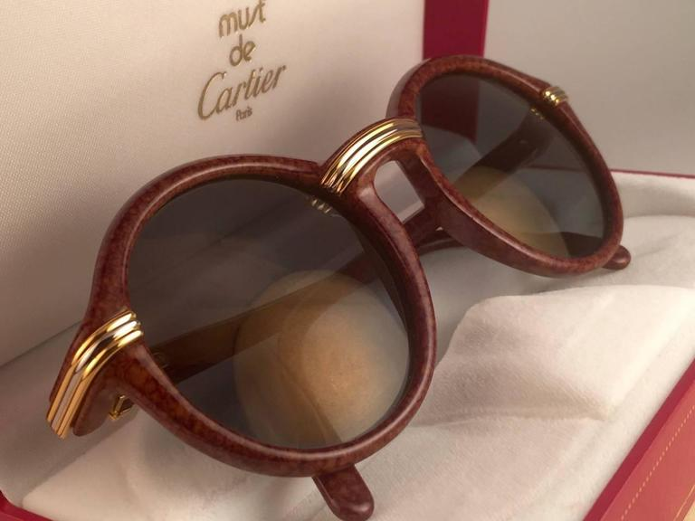 New Cartier Cabriolet Round Brown 49MM 18K Gold Sunglasses France 1990's 3