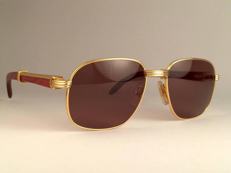 New Cartier Wood Monceau Gold & Wood 53MM Brown Lenses France Sunglasses For Sale 2