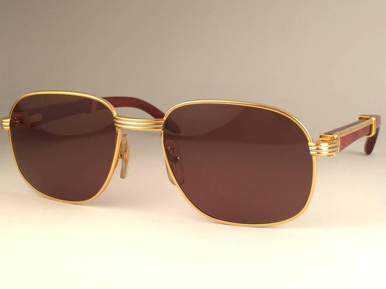New Cartier Wood Monceau Gold & Wood 53MM Brown Lenses France Sunglasses For Sale 1