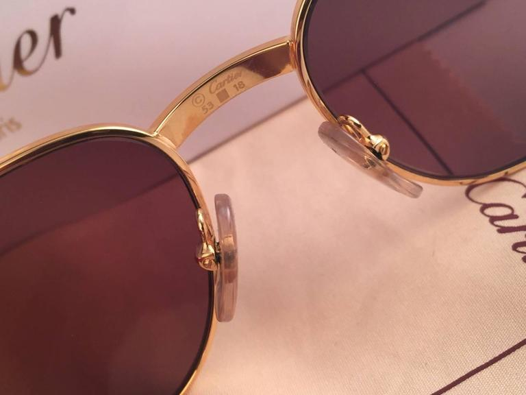 New Cartier Wood Monceau Gold & Wood 53MM Brown Lenses France Sunglasses 9