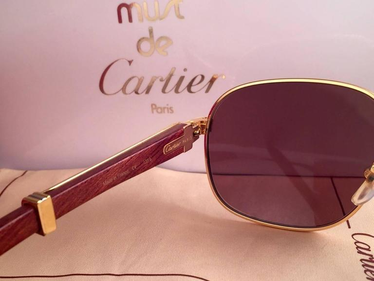 New Cartier Wood Monceau Gold & Wood 53MM Brown Lenses France Sunglasses For Sale 4