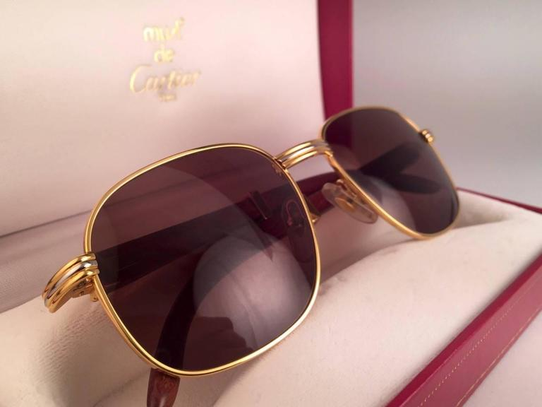New Cartier Wood Monceau Gold & Wood 53MM Brown Lenses France Sunglasses In New never worn Condition For Sale In Amsterdam, NL
