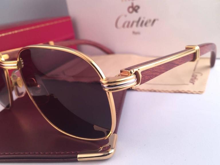 Women's or Men's New Cartier Wood Monceau Gold & Wood 53MM Brown Lenses France Sunglasses For Sale