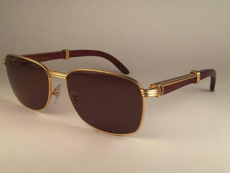 Women's or Men's New Cartier Wood Amboise Gold & Precious Wood 56MM Sunglasses Brown Lens France For Sale