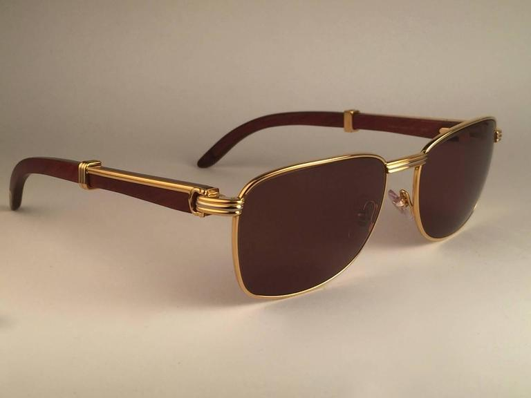 New Cartier Wood Amboise Gold & Precious Wood 56MM Sunglasses Brown Lens France For Sale 1