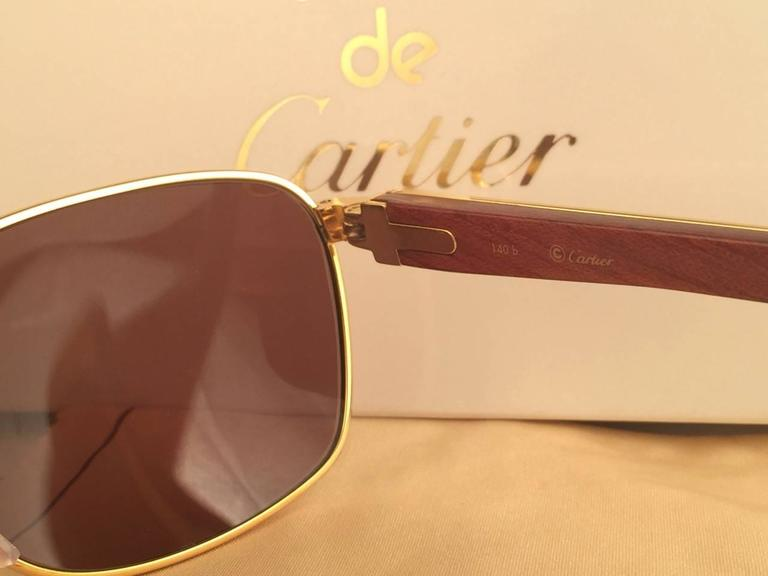 New Cartier Wood Amboise Gold & Precious Wood 56MM Sunglasses Brown Lens France For Sale 3