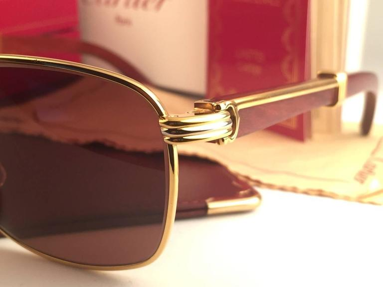 New Cartier Wood Amboise Gold & Precious Wood 56MM Sunglasses Brown Lens France In New Never_worn Condition For Sale In Amsterdam, Noord Holland