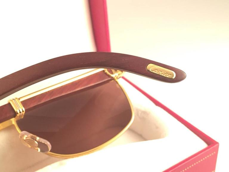New Cartier Wood Amboise Gold & Precious Wood 56MM Sunglasses Brown Lens France For Sale 4