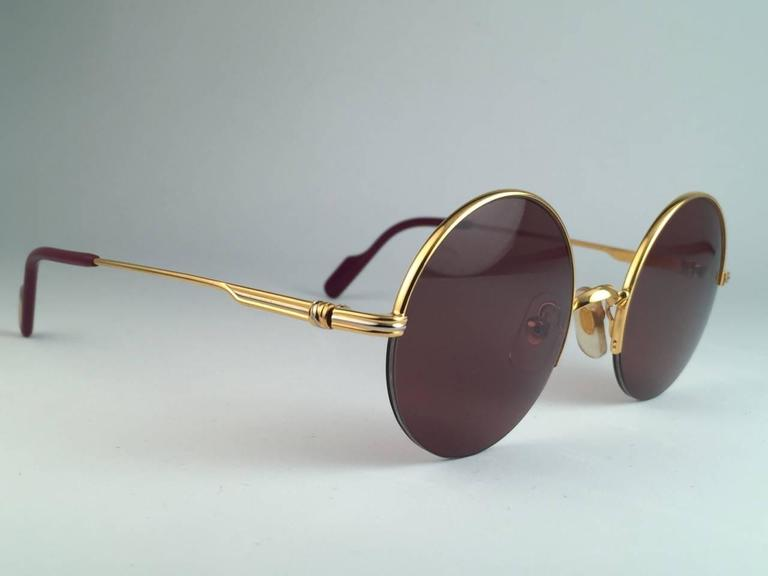 New Cartier Mayfair Round Half Frame Gold 45mm Brown Lens France ...
