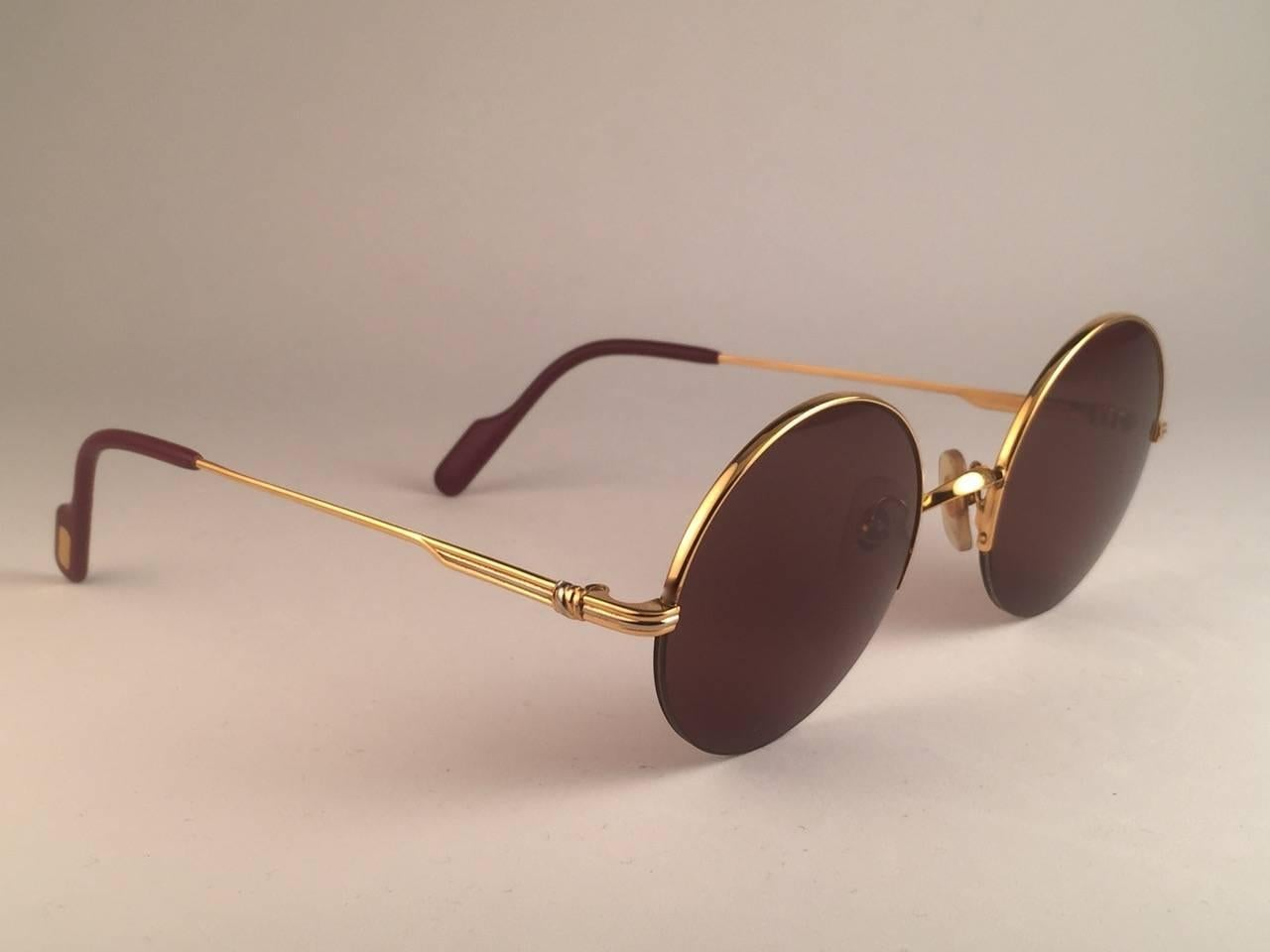 f5847ac91c33 New Cartier Mayfair Round Half Frame Gold 47mm Brown Lens France Sunglasses  at 1stdibs