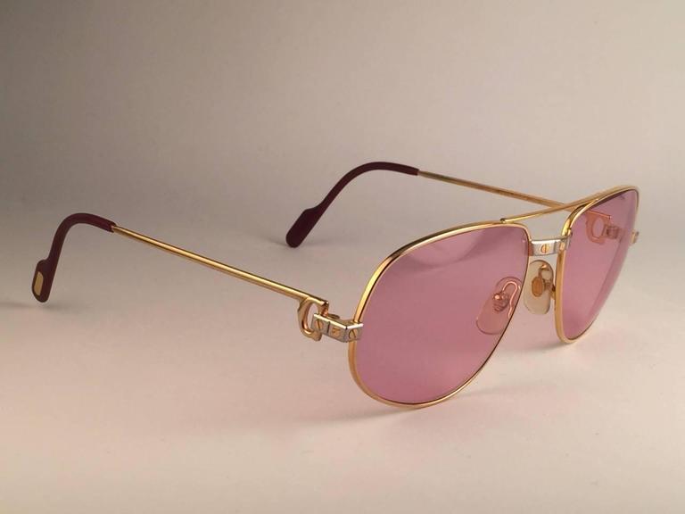 Cartier Santos Romance Rose Pink Lenses 58mm Drake 18k Gold Sunglasses For Sale 1