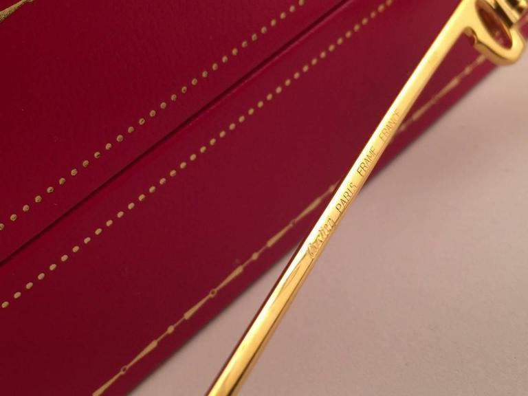 Cartier Santos Romance Rose Pink Lenses 58mm Drake 18k Gold Sunglasses For Sale 2