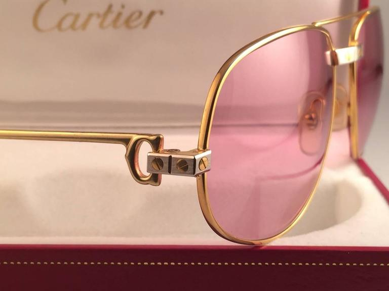 Cartier Santos Romance Rose Pink Lenses 58mm Drake 18k Gold Sunglasses In Excellent Condition For Sale In Amsterdam, Noord Holland