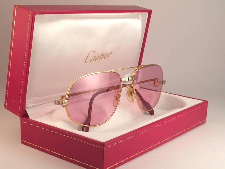 Cartier 58mm 18k Pink Santos Sunglasses Lenses Drake Romance Rose Gold 54jLSAcRq3