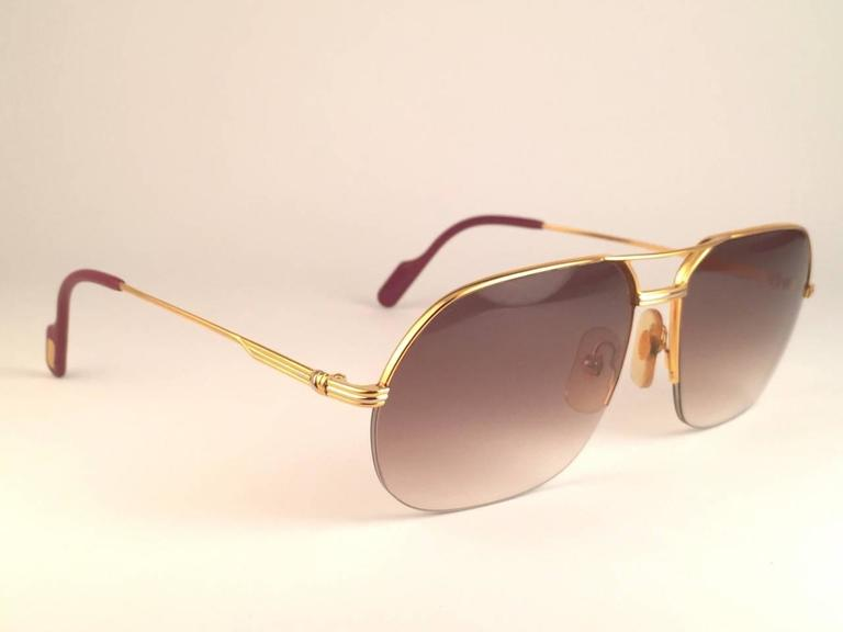 New Cartier Tank Orsay Half Frame 58mm 18K Gold Plated Sunglasses ...