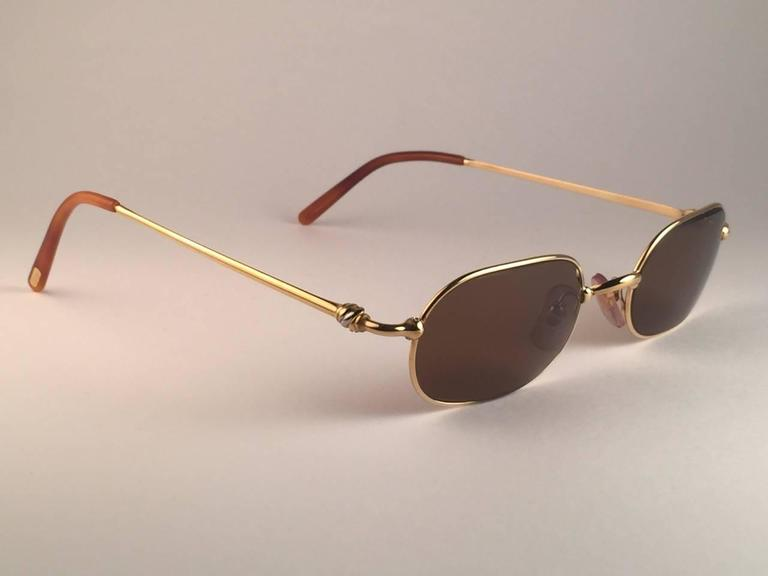 Cartier Deimios Gold Plated Solid Brown Lens France 1990 Sunglasses 3