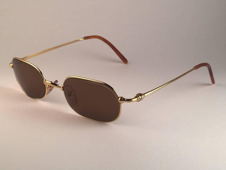 Cartier Deimios Gold Plated Solid Brown Lens France 1990 Sunglasses 4