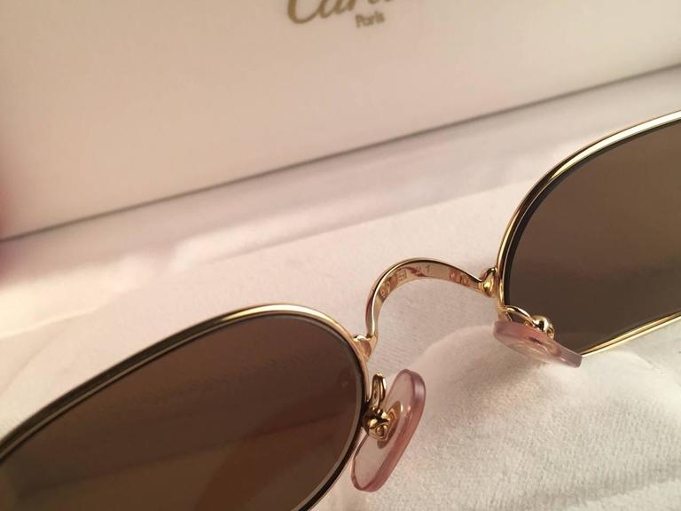 Cartier Deimios Gold Plated Solid Brown Lens France 1990 Sunglasses 7