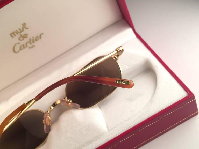 Cartier Deimios Gold Plated Solid Brown Lens France 1990 Sunglasses 8