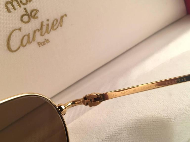 Cartier Deimios Gold Plated Solid Brown Lens France 1990 Sunglasses 6