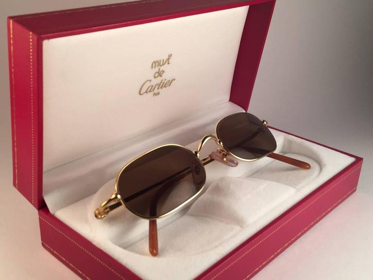 Cartier Deimios Gold Plated Solid Brown Lens France 1990 Sunglasses 2