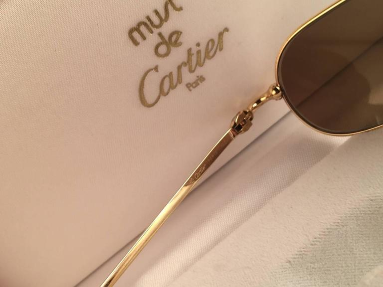 Cartier Deimios Gold Plated Solid Brown Lens France 1990 Sunglasses 5