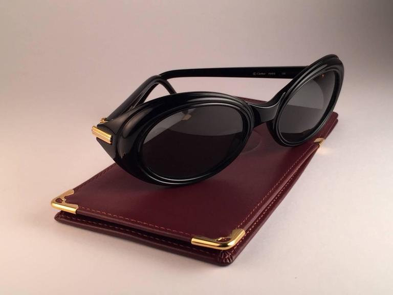 Cartier Frisson Black Medium Sunglasses 18k Gold France 1991 2