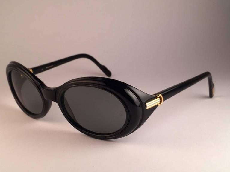 Cartier Frisson Black Medium Sunglasses 18k Gold France 1991 4