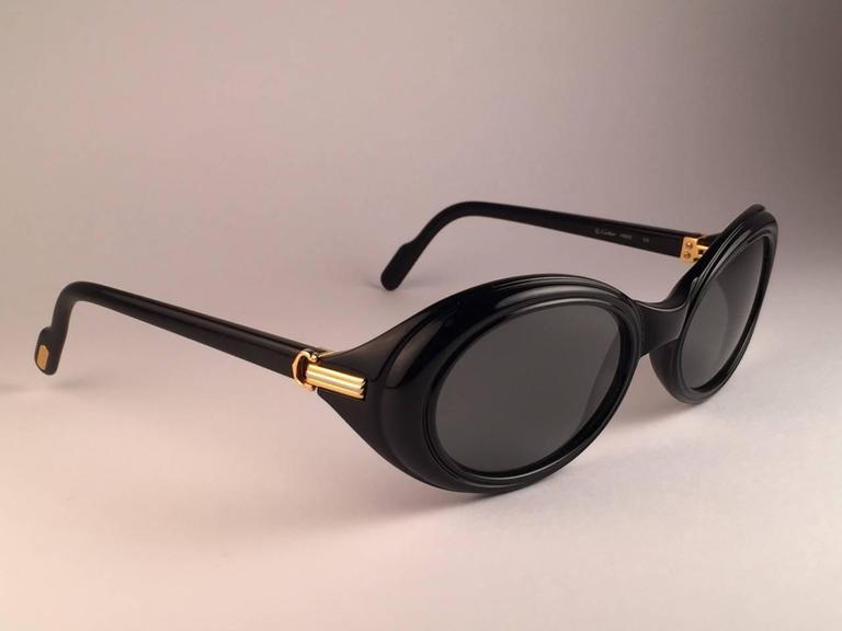 Cartier Frisson Black Medium Sunglasses 18k Gold France 1991 3