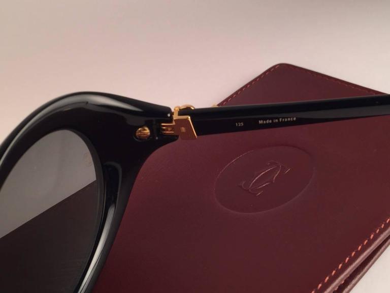 Cartier Frisson Black Medium Sunglasses 18k Gold France 1991 6