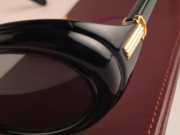 Cartier Frisson Black Medium Sunglasses 18k Gold France 1991 5