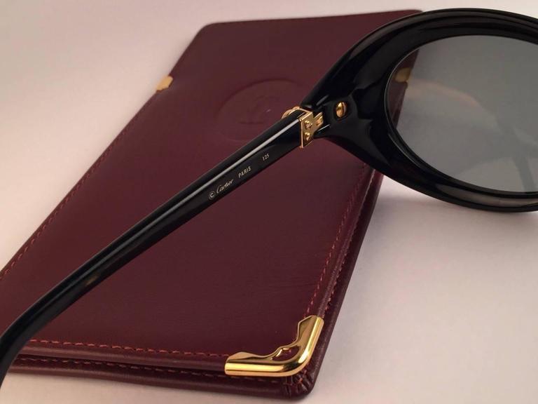 Cartier Frisson Black Medium Sunglasses 18k Gold France 1991 7